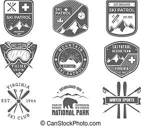 blazoen, buiten, patrouille, wildernis, snowboard, set, logo, monochroom, kentekens, design., berg, winter, ouderwetse , reizen, sporten, hipster, getrokken, ski, ontdekkingsreiziger, club, labels., hand, avontuur, symbool., pictogram, vector