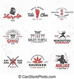 blazoen, ninjas, concept, kunst, ouderwetse , team, katana, ...
