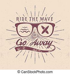 blazoen, zomer, ontwerp, gaan, logo, design., web, stijl, ouderwetse , weg, surfer, hipster, boarding., strand, branding, badge., embleem, golf, glas, seal., grafiek, print., surfing, surfboard, rijden, vector, of