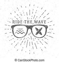 blazoen, zomer, ontwerp, logo, boarding., web, ouderwetse , hipster, design., strand, branding, badge., poster, golf, zeehondje, grafiek, surfer, print., surfing, surfboard, rijden, embleem, element, vector, of, bril
