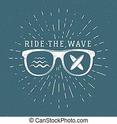 blazoen, zomer, ontwerp, logo, element, boarding., web, stijl, symbols., ouderwetse , surfer, hipster, design., strand, branding, badge., embleem, golf, zeehondje, glas, grafiek, print., surfing, surfboard, rijden, vector, of