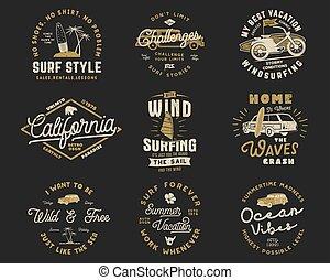 blazoen, zomer, vastgesteld ontwerp, logo, web, patches, ouderwetse , vrijstaand, emblems, hipster, templates., branding, shirt., verzameling, surfer, grafiek, print., badges., surfing, typografie, vector, t, liggen, of