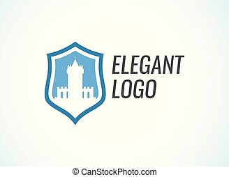 Blazon with Stronghold Castle on coat of arms flat style in blue color with caption