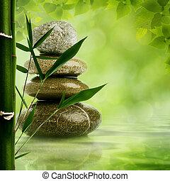blbeček, zen, grafické pozadí, s, bambus, list, a, oblázek,...