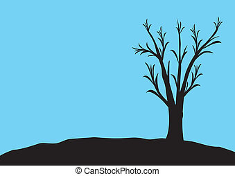 blck tree with blue background
