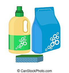 Bleach Bottle With Sponge Package Of Washing Powder Detergent Vector