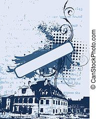 bleach urban grunge - Bleached grunge illustration with...
