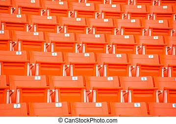 bleacher, étapes, rouges, sièges stade