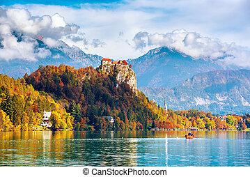 Bled Castle, Slovenia. - Bled Castle built on top of a cliff...