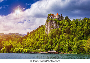 Bled Castle with Lake Bled, Slovenia.