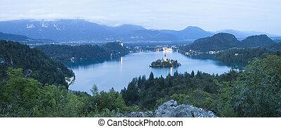 Bled lake at night