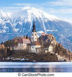Bled lake, Slovenia, Europe. - Panoramic view of Julian Alps...