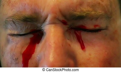 Bleeding from both eyes, this is a professional makeup effect do not try this with normal store bought fake blood