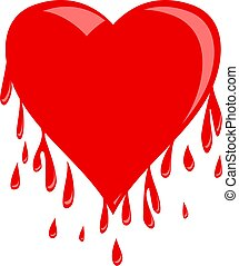 Simple red heart shape that appears to be dripping droplets of blood. Illustration isolated on a white background.