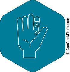 Bleeding human thumb icon, outline style - Bleeding human ...