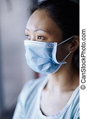 bleiben, chirurgisch, schützend, frau, abnützende maske, ...