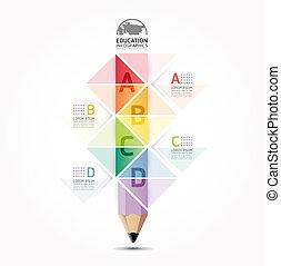 bleistift, abstrakt, infographic, design, stil, plan, /, schablone, infographics, freisteller, minimal, website, sein, gebraucht, horizontal, numeriert, grafik, linien, vektor, buechse, banner, oder