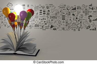 bleistift, begriff, geschaeftswelt, licht, idee, strategie, buch, zwiebel, rgeöffnete, zeichnung