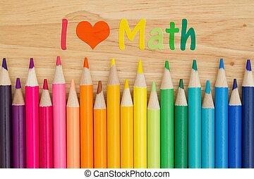 bleistift, buntstifte, liebe, nachricht, mathe