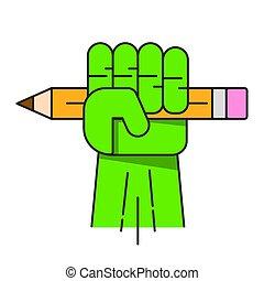 bleistift, hand, vektor, design, grün, dein