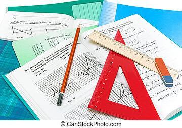 bleistift, lineal, mathematik, closeup, hintergrund, lehrbuch, notizbuch, weißes