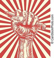 bleistift, propaganda, holzschnitt, hand