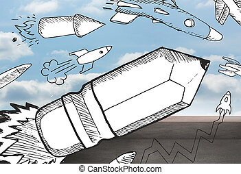 bleistift, rakete, aus, balkon, und, himmelsgewölbe