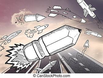 bleistift, rakete, aus, straßen, in, himmelsgewölbe