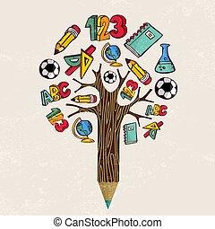 bleistift, schule, begriff, baum, lernen, bildung