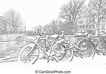 Bleistift Niederlande Fahren Schnee Zug Amsterdam Zeichnung
