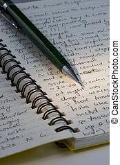 bleistift, zeitschrift, handgeschrieben, erkundungstour