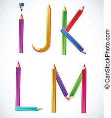 bleistifte, bunte, alphabet, l, m), k, j, (i