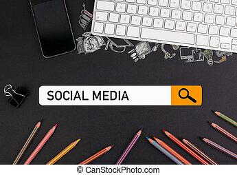 bleistifte, bunte, beweglich, medien, concept., sozial, telefon, edv, schwarz, tastatur, tisch