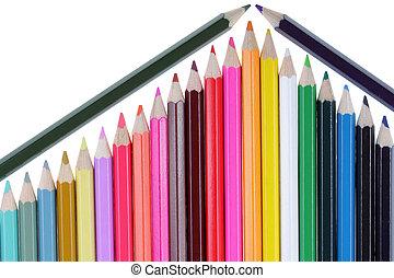 bleistifte hat gefärbt, ähneln, a, teil, a, haus, mit, a, dach, freigestellt, auf, a, weißer hintergrund