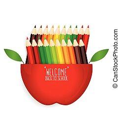 bleistifte, schule, apfel farbe, herzlich willkommen, zurück, hintergrund, vektor, illustration.
