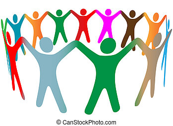 Blend of diverse symbol people of many colors hold hands up in ring