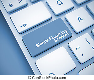 Blended Learning Services on the Keyboard Key. 3D.