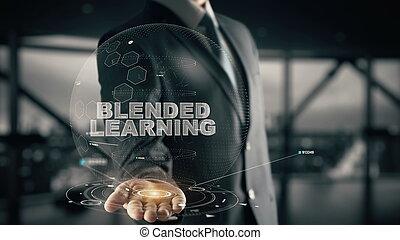 Blended Learning with hologram businessman concept - ...