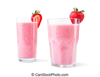 Blended strawberry drinks in glasses. A couple of organic smoothies isolated on a white background. Healthy beverages.
