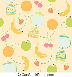 Blender and fruits seamless pattern.