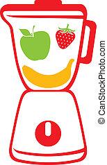 blender (vector icon blender, mixer with fresh slices fruits...