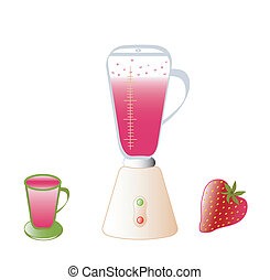 Blender, cocktail, strawberry, objects white isolated, vector