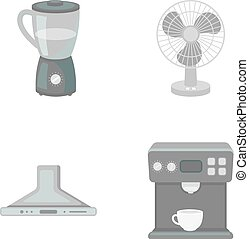 Blender, extractor and other equipment.Household set collection icons in monochrome style vector symbol stock illustration web.