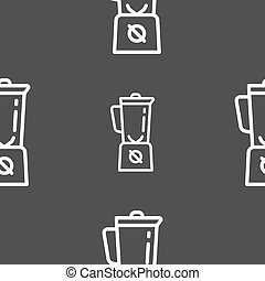 blender icon sign. Seamless pattern on a gray background. Vector