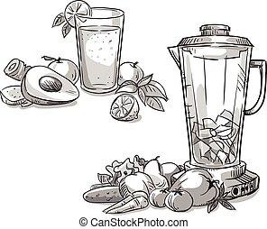 Blender. Smoothie. Healthy diet.