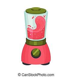 Blender with Pink Juicy Smoothie Inside Vector Illustration.
