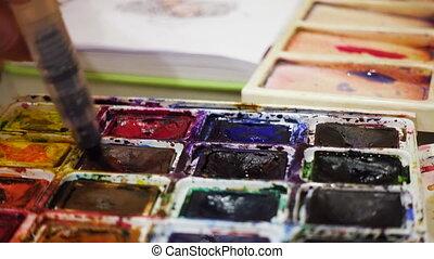 blending watercolors on a palette