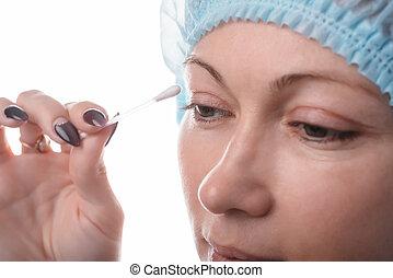 blepharoplasty, von, der, höher, eyelid.