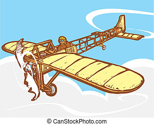 Bleriot in Flight - Early 20th century Bleriot airplane in...