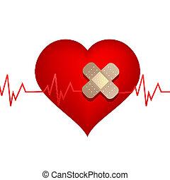 blessé, bandage, coeur